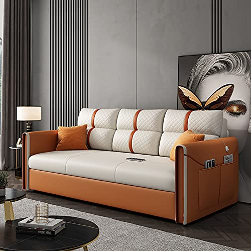 SND-A Schlafsofa - Klappbare Ausziehbare Futon-Couch Mit USB-Lade- Und Aufbewahrungsbox,Wohnzimmer-Multifunktionsstoff Einzel- / Doppelsofa-Sitzmöbel,Stark Belastbar,Orange,1.13M