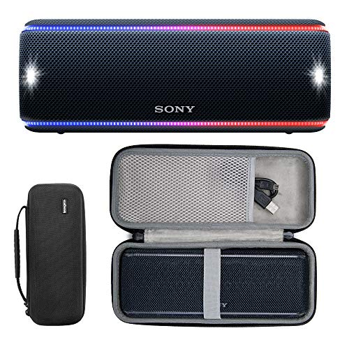 Sony SRS-XB31 Portable Bluetooth Speaker (Black) with Hard Shell Carrying case