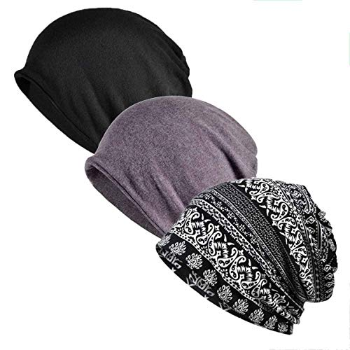 Inconly Chemo Caps for Women Slouchy Beanies Cancer Patients Sleep Hats Warm Soft Stretchy 3 Pack