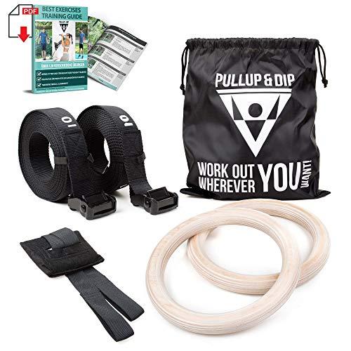PULLUP & DIP Premium Turnringe Holz Gym Rings Gymnastikringe Gym Ringe Turnerringe für Calisthenics & Crossfit - Breite Befestigungsgurte mit Markierungen + Türanker + Transportbeutel + Trainingsguide