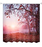 A.Monamour Duschvorhänge Herbst Rote Wald Bäume Gefallen Blätter Sonnenschein Über Nebel Fluss Natur Landschaft Drucken Wasserdicht Polyester Stoff Duschvorhang Für Badezimmerr 180X200 cm