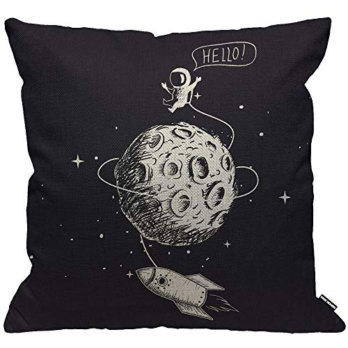 HGOD DESIGNS Space Cushion Cover,Astronaut Spaceship Moon Planet Spacecraft Throw Pillow Case Home Decorative for Men/Women Living Room Bedroom Sofa Chair 18X18 Inch Pillowcase 45X45cm