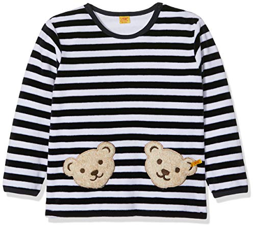 Steiff Collection Steiff Unisex - Baby Sweatshirt, gestreift Doppelbären Shirt 0002891, Gr. 62, Blau (marine 3032)