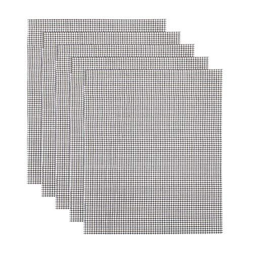 QKFON 33 x 40 cm, 5 alfombrillas antiadherentes para parrilla al aire libre reutilizables para horno de horno de horno de horno de fibra de vidrio PTFE