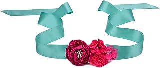 Satin Belt Flower Girl Sash with Burned Layered Flower Wedding Bridesmaid Sash JB23