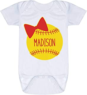 Custom Softball Baby & Infant Onesie | Softball Bow | Colors & Sizes