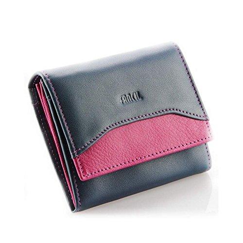 Petit portefeuille en cuir véritable, portefeuille femme, portefeuille fille N1664 BLEU/VIOLET