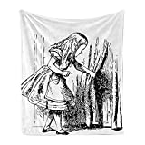 Ambesonne Alice in Wonderland Soft Flannel Fleece Throw Blanket, Black and White Alice Looking Through Curtains Hidden Door Adventure, Cozy Plush for Indoor and Outdoor Use, 50' x 60', Black White