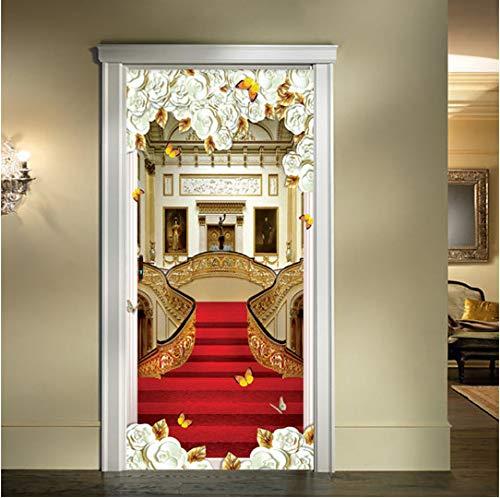 MNJKH Door stickers door decals,European Style Door Sticker 3D Stairs Red Carpet Wallpaper Living Room Hotel Home Decor Luxury Design Door Decals Wall Stickers