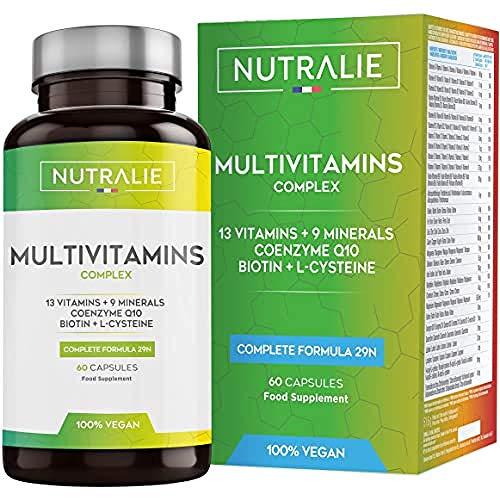 Multivitaminico Multiminerale Naturale Vegano   29 Nutrienti Attivi   9 Minerali, 13 Vitamine (A, D, C, D, E, K), Biotina, Coezima Q10 e L-cisteina   60 Capsule   Prodotto da Nutralie