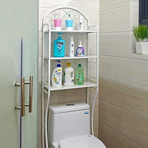 Badkamer toilet toilet vloer toiletten toiletrek wasmachine finishing Rack opslagrek (kleur: zwart) wit