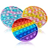 Push pop Bubble Sensory Fidget Toy, Autism Special Needs Stress Reliever and Anti-Anxiety Toys, Silicone Squeeze Sensory Toy for Kids Women Men Adults,3 Packs(Round Multi-Color)