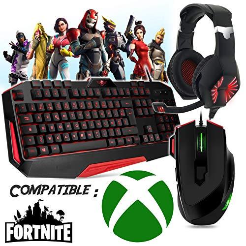 Gaming-toetsenbord, muis, koptelefoon en mat, compatibel met Fortnite Xbox One en andere games.