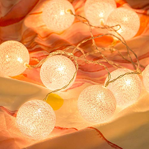 LED Lichterkette mit Cotton Balls Batteriebetrieben, 3M 20 LED Kugel Lichterketten Innen Wandleuchte Weihnachtsbeleuchtung Deko für Party, Garten, Weihnachten, Hochzeit