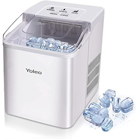 Yoleo Machine à glaçons, Machine à glaçons silencieux 9 glaçons en 8 minutes, 26 lbs/12 kg en 24 Hours, Fonction D'auto-nettoyage, Avec cuillère à glace et panier, Blanc