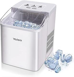 Yoleo Machine à glaçons, Machine à glaçons silencieux 9 glaçons en 8 minutes, 26 lbs/12 kg en 24 Hours, Fonction D'auto-ne...