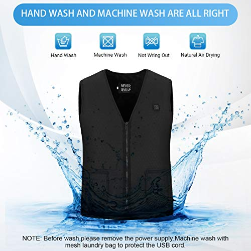 Doact Heated Vest Jacket for Men and Women, Electric Body Warmer Gilet, Heat Clothing USB Charging for Therapy, in Cold Winter Outdoor Motorcycle, Hiking, Skiing with 5 Heat Pad keep Warm No Battery