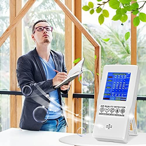 InLoveArts Medidor de calidad de aire formaldehído,Herramienta de Prueba de CO2 HCHO TVOC PM2.5  PM10 monitor AQI multi analizador,Dispositivo de prueba para polvo,Usado en lugares públicos como bares