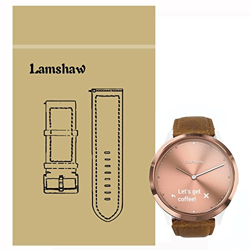 Lamshaw Leather Strap Replacement Band for Garmin Vivomove HR/Garmin Vivoactive 3 Band (Leather -Brown)