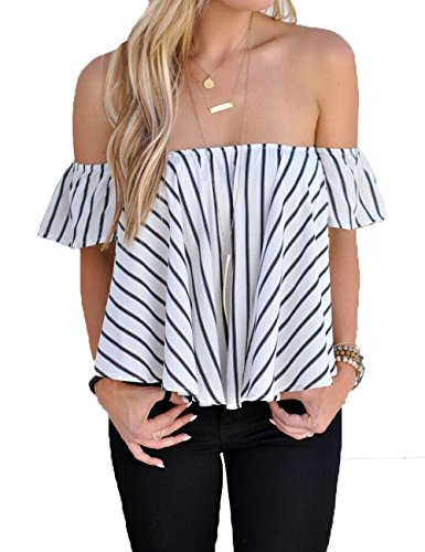 BOBIBI Women's Off Shoulder Stripe Casual Blouse Shirt Tops