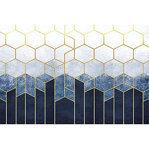 Blue And White Geometric Abstract Monogram Lounge Ufficio Ufficio tavolino da caffè Studio Tappeto decorativo-80x160 cm. Grandi Dimensioni Salotto Moderno tappeti