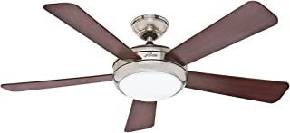 Hunter Indoor Ceiling Fan with light and remote control - Palermo 52 inch, Brushed Nickel, 59052