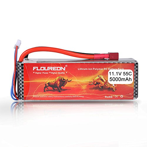 FLOUREON 3S 11.1V 5000mAh 55C Lipo Battery Pack with Deans T Plug for RC Helicopter RC Airplane RC Hobby