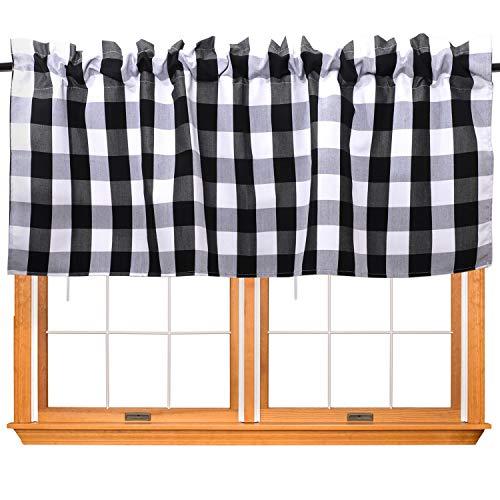 URATOT 1 Piece Buffalo Plaid Valance Window Curtain Valance for Kitchen Buffalo Checkered Curtain Valance