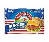 El Caserío - Queso Cheddar en Lonchas para Burger, 7 Lonchas, 185 g