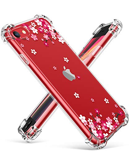 """GVIEWIN Clear Flower iPhone SE 2020 Case/iPhone 8 Case/iPhone 7 Case, Soft TPU Silicone Ultra-Thin Slim Fit Transparent Woman Flowers Flexible Cover for 4.7"""" iPhone SE2/7/8, Peach Blossom/Pink"""