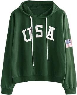 LONGDAY Print Casual Thick Crop American Flag TopWomen's Ultra Soft Fleece Solid Taping Crew Neck USA Sweatshirt