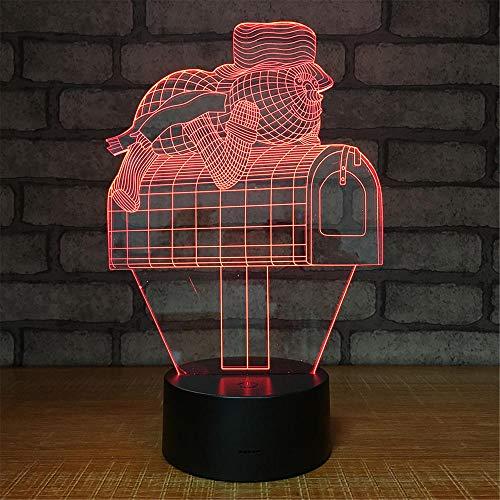 3D-lamp bedrukt brievenbus, LED-licht, 7 kleuren, USB-oplading, decoratief led-nachtlampje met touch-bediening, decoratie voor de slaapkamer
