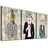 Canvas Wall Art for Bedroom Wall Decor for Living Room farmhouse Canvas art Prints vintage Funny Animals dog Wall Picture Modern Canvas painting Artwork for Office Framed Ready to Hang Home Decoration