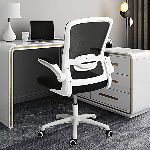 Cooient Desk Office Task Chair Mesh Ergonomic Chair with Lumbar Support and Flip-up Arms Home Computer Chair Adjustable Height (White)