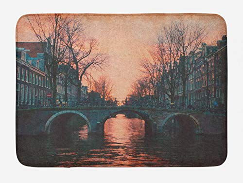 ABAKUHAUS Paesaggio Tappetino da Bagno, Amsterdam Ponte Vintage, Vasca Doccia WC Tappeto in Peluche con Supporto Antiscivolo, 45 cm x 75 cm, Rosa Grigio