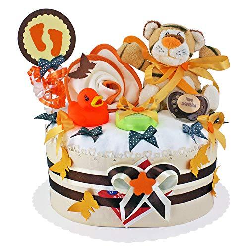 MomsStory - Windeltorte neutral | Tigger | Baby-Geschenk zur Geburt Taufe Babyshower | 1 Stöckig (Orange-Beige) Baby-Boy & Baby-Girl (Unisex) mit Plüschtier Lätzchen Schnuller & mehr