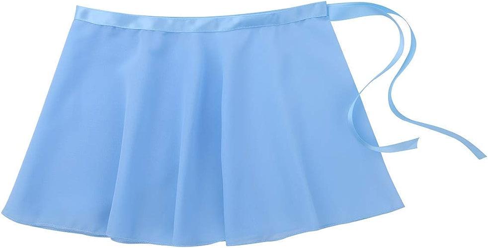 MJY Mode enfants filles 'cravate taille robe de danse de base en mousseline de soie mini wrap jupe costumes de danse,Bleu clair,5-6 ans