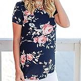 XIAOBAOZITXU Frauen T-Shirt Mode Navy Floral Kurzarm T Shirt Frauen Kurzarm Shirt -