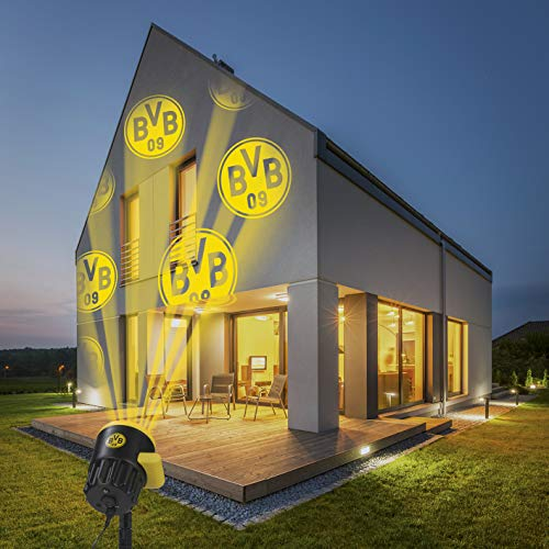 Borussia Dortmund Logo Projektor Fanartikel | LED-Motivstrahler BVB-Logo | Beleuchtung für Borussia Dortmund Supporter (gelb/schwarz)