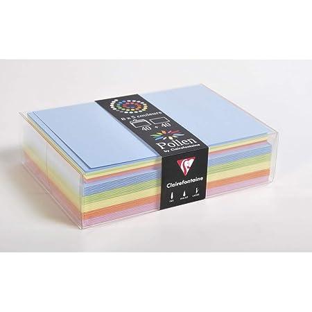 Clairefontaine 20802C - Correspondance Pollen - Coffret 40 Enveloppes C6 11,4x16,2cm + 40 Cartes Simples 11x15,5cm - Thème Printemps - 5 Coloris Différents