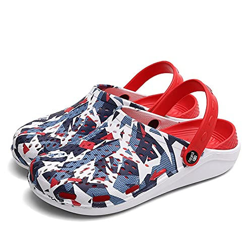 NISHIWOD Zapatillas Casa Chanclas Sandalias Sandalias De Zuecos para Hombre Zapatillas De Playa Ligeras De Eva Mula Antideslizante Hombres Mujeres Zapatos De Zueco De Jardín Chanclas Casuales 45 Rojo