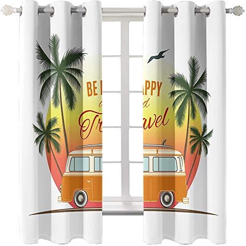 AMDXD 2 Paneles Cortina Poliester Cocina, Cortina para Salon Modernas Be Happy and Travel Autóbus y Árboles de Coco Modernas Decoración para Habitación, Naranja Verde Blanco, 214x244CM