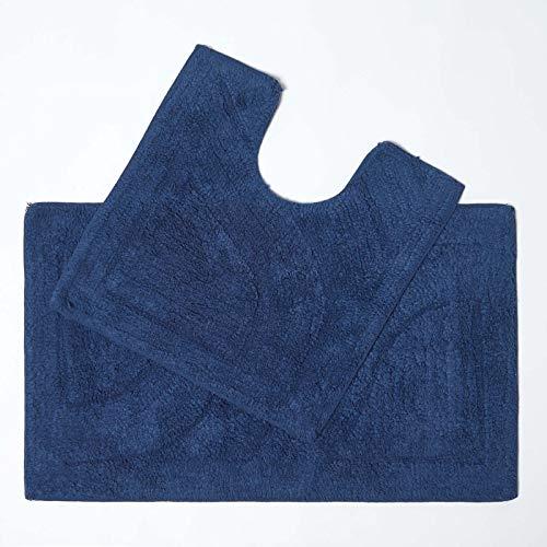 Homescapes Tapis de Bain De Luxe Lot de 2 Pièces 50 x 80 cm et 50 x 55 cm - Bleu Roi - 100% Coton Tapis Salle de Bain et Tapis Piédestal – Tapis de Bain de Première Qualité Lavable en Machine