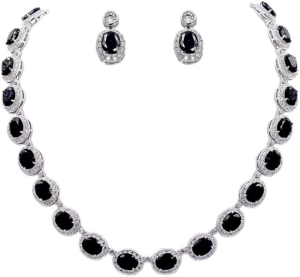 Lavencious Tennis Oval Necklace & Earrings Jewelry Set AAA Cubic Zirconia Rhodium Plated