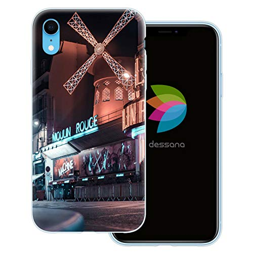 dessana Paris transparante beschermhoes mobiele telefoon case cover tas voor Apple, Apple iPhone XR, Moulin Rouge