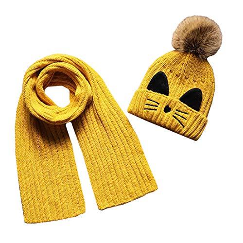 Boomly Autunno e Inverno Carino Caldo Berretto in Lana a Maglia Fodera Peluche Cappello +Sciarpa Set Cappello con Pompon Scaldacollo Sciarpa per Bambino (Giallo)