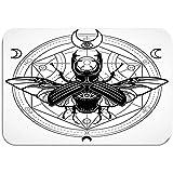 Ahdyr Alfombra Alfombra Alfombrilla de Puerta Insecto con Cuernos Círculo místico Símbolo esotérico Signo de geometría Sagrada Luna Dibujo monocromático Gris Aislado 60 * 40 cm (23.5x15.7 Pulgadas)