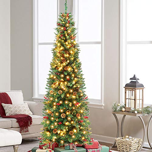 AerWo 7.5ft Prelit Pencil Christmas Tree, LED SlimChristmasTree with 350 Clear Lights, 900 Thicken Tips, Tall Skinny Pine Artificial Christmas Tree with 55 Berrys and 55 Pine Cones, Green