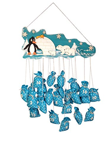 Petra's Bastel News Bastelset für Adventskalender Pinguin und Eisbär inkl. Holzteile, Adventskalenderzahlen aus Filz, 24 x Säckchen zum Nähen und Stopfnadel, Holz, Holzfarben, 45 x 35 x 10 cm