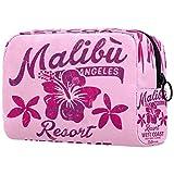 Malibu Surfing Hibiscus - Bolsa de maquillaje con impresión vintage para cosméticos, organizador de viaje portátil para niñas y mujeres